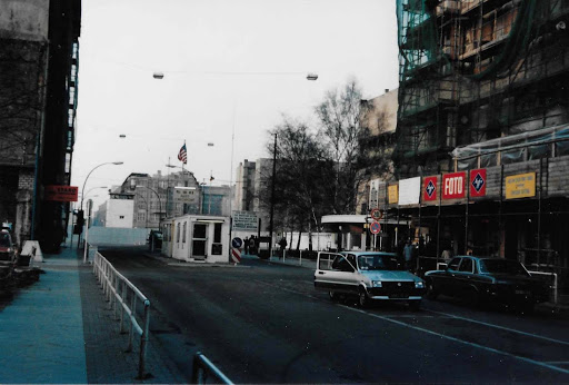 The famous checkpoint between East and West Berlin during the Cold War